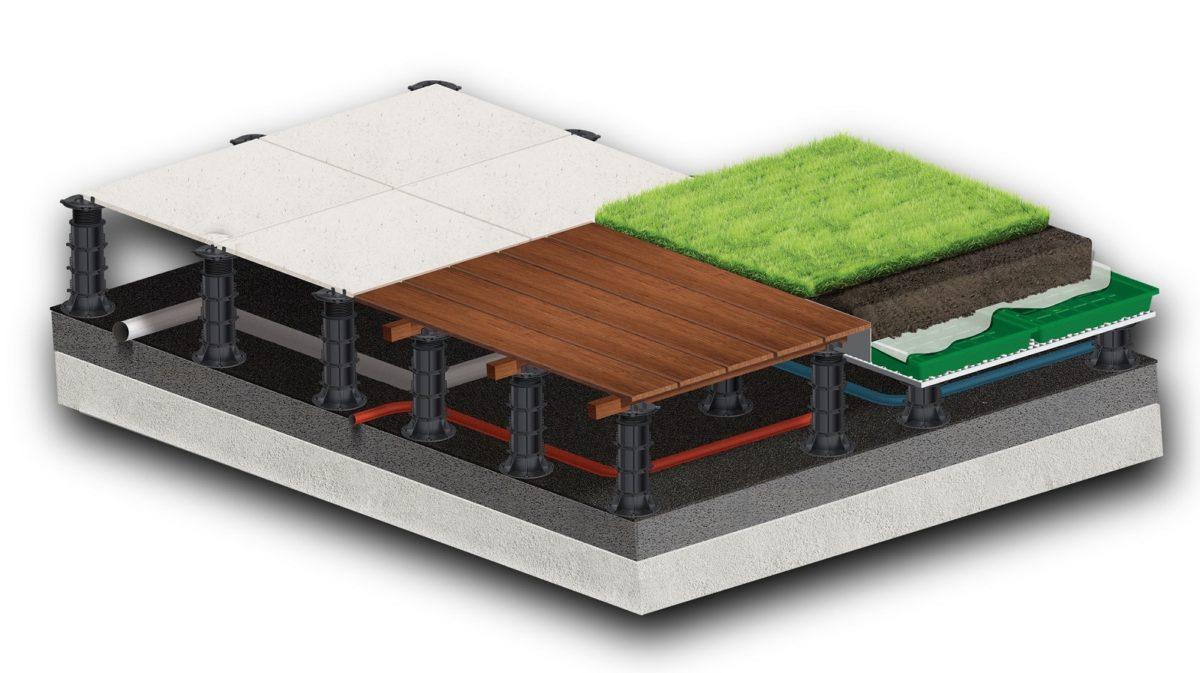 Зеленая крыша на винтовых регулируемых опорах